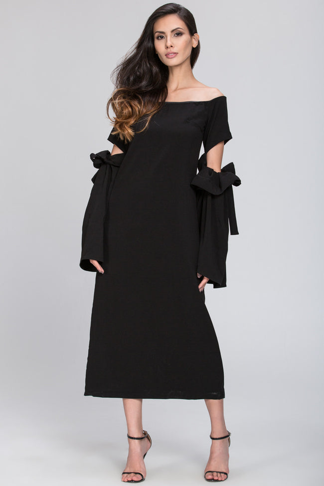 Black Bow Cut Out Sleeve Detail Midi Dress