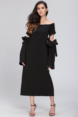 Black Bow Cut Out Sleeve Detail Midi Dress 92