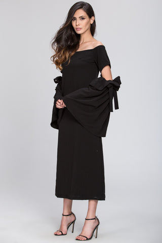 Black Bow Cut Out Sleeve Detail Midi Dress 97
