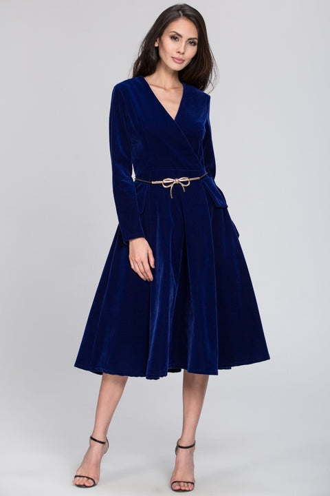 Velvet Waisted Electric Blue Dress 94