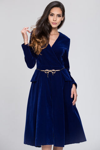 Velvet Waisted Electric Blue Dress 97