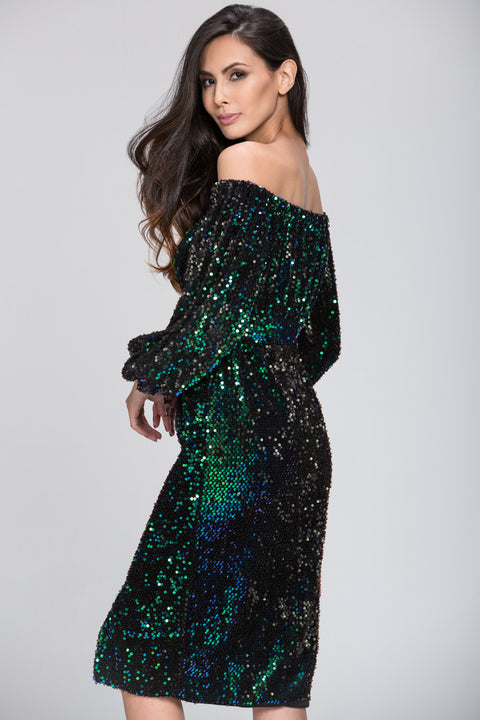 Deema Al Asadi - Sequined off the Shoulder Dress