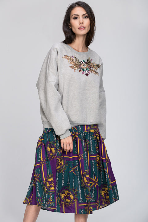 Purple Print Midi Skirt 130