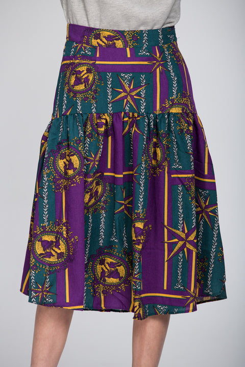 Purple Print Midi Skirt 131