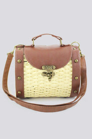 Woven Basket Mini Trunk Crossbody Purse