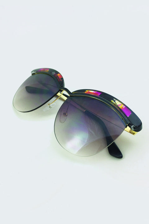 Black and Purple Top Rim Sunglasses 49