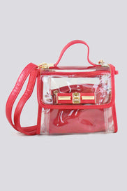Red Trim Transparent Handbag