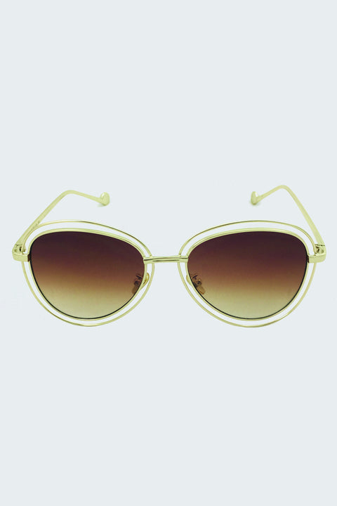 Gold Double Rim Aviator Shades 55