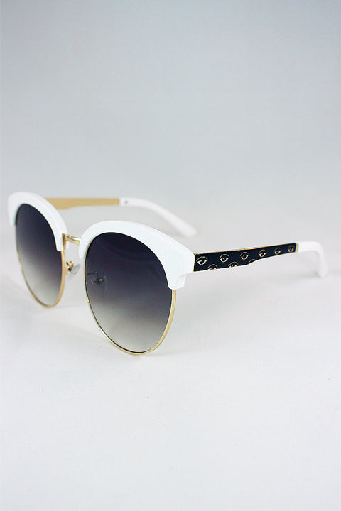 White Top Detail Sunglasses 63