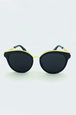 The Real Fouz - Black and Gold Cat Eye Sunglasses 63