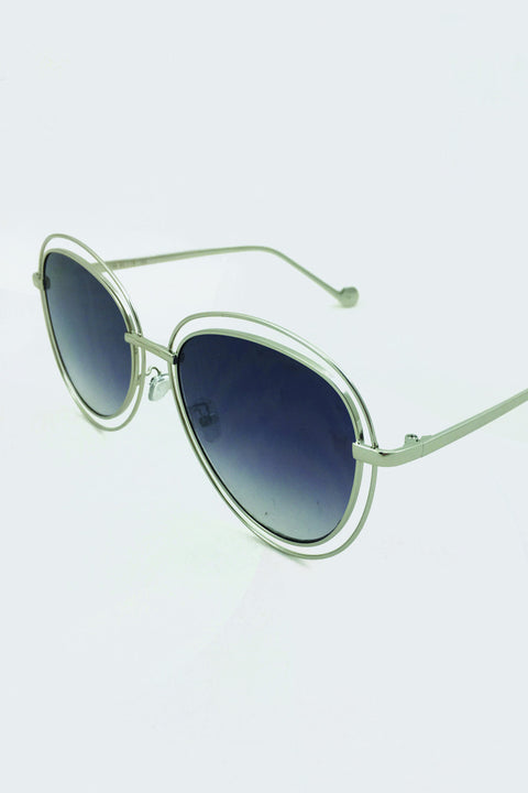 Silver Double Rim Aviator Shades 53