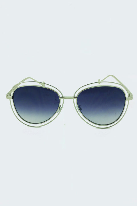 Silver Double Rim Aviator Shades