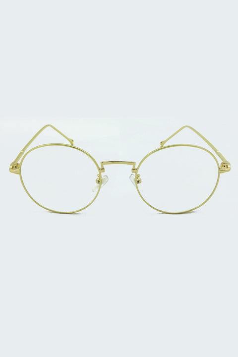 Geeky Gold Rim Round Clear Glasses