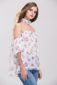 TheHala - Floral Ruffled Choker Off the Shoulder Top