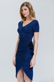 Midnight Blue Sparkle Overlap Pencil Midi Dress
