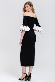 Black and White Bell Sleeve Midi Dress