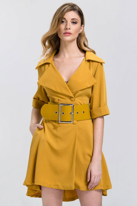 11cd740014a1a Mustard Wide Collar Belted Princess Mini Blazer Dress 2