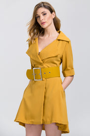 Mustard Wide Collar Belted Princess Mini Blazer Dress