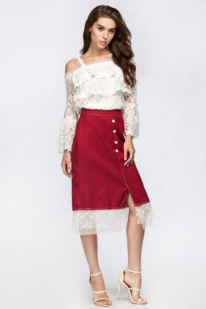 White tulle ruffle red midi skirt