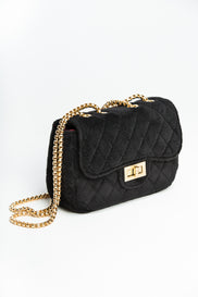 Black Velvet Shoulder Bag