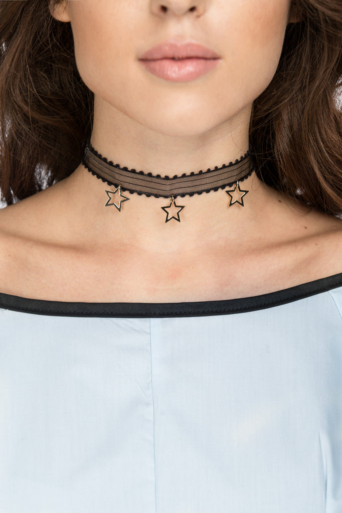 Black Sheer Tri-Star Studded Choker Necklace
