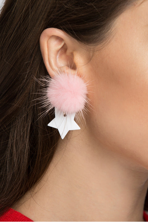 Pink Star Puff Earrings 214