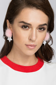 Pink Star Puff Earrings