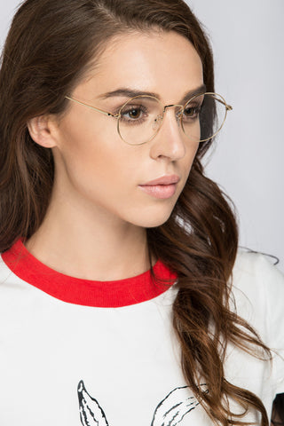 Geeky Gold Rim Round Clear Glasses 90