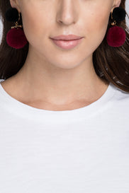 Blue Maroon Pom-pom Earrings