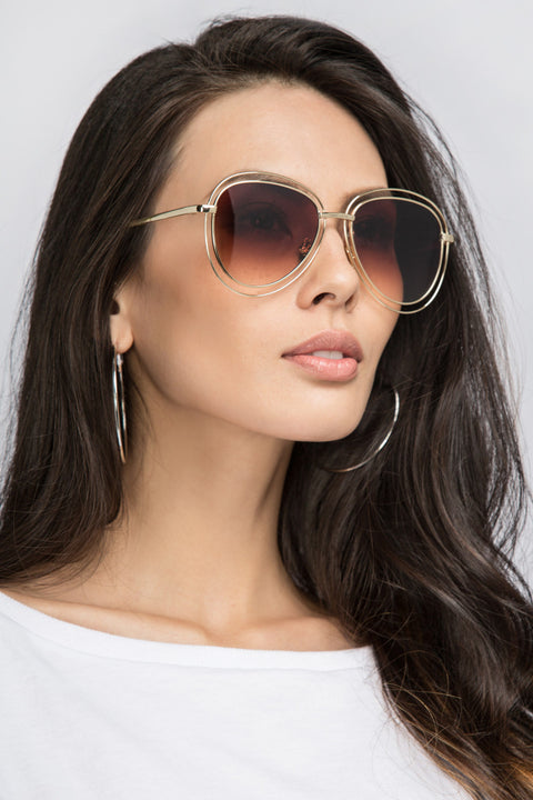 Gold Double Rim Aviator Shades 54