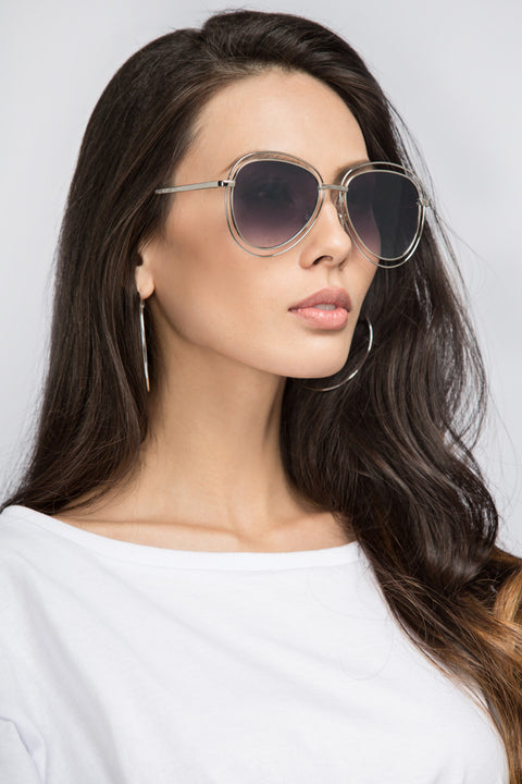 Silver Double Rim Aviator Shades 52