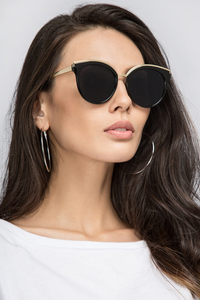 The Real Fouz - Black and Gold Cat Eye Sunglasses