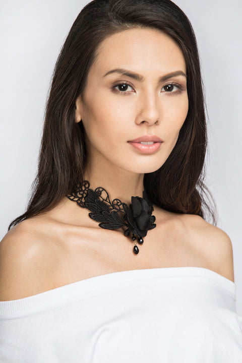 Black Rose Lace Choker Necklace 16