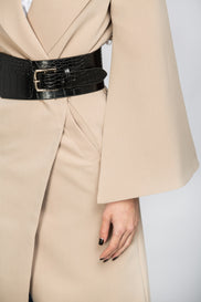 Fatma Husam - Nude Flare Sleeve Coat with Belt