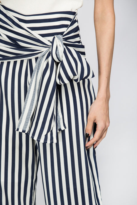 Striped Wrap Around Palazzo Trousers