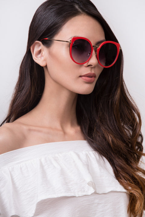 Red and Gold Cateye Sunglasses 73
