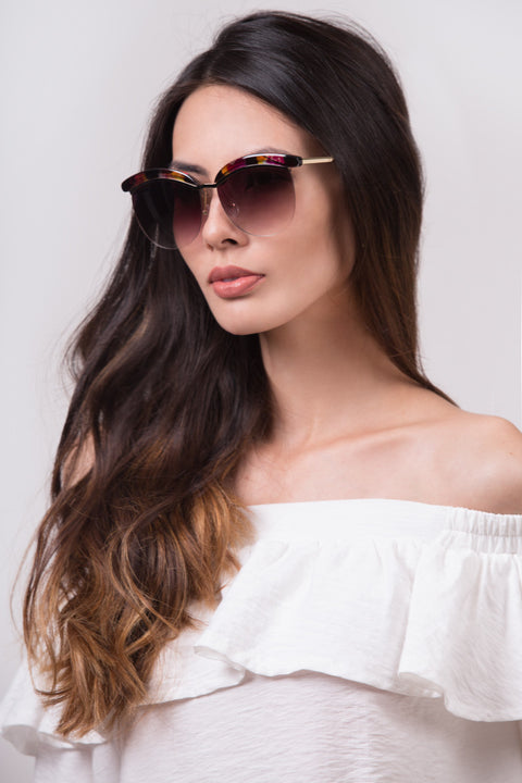 Black and Purple Top Rim Sunglasses 221