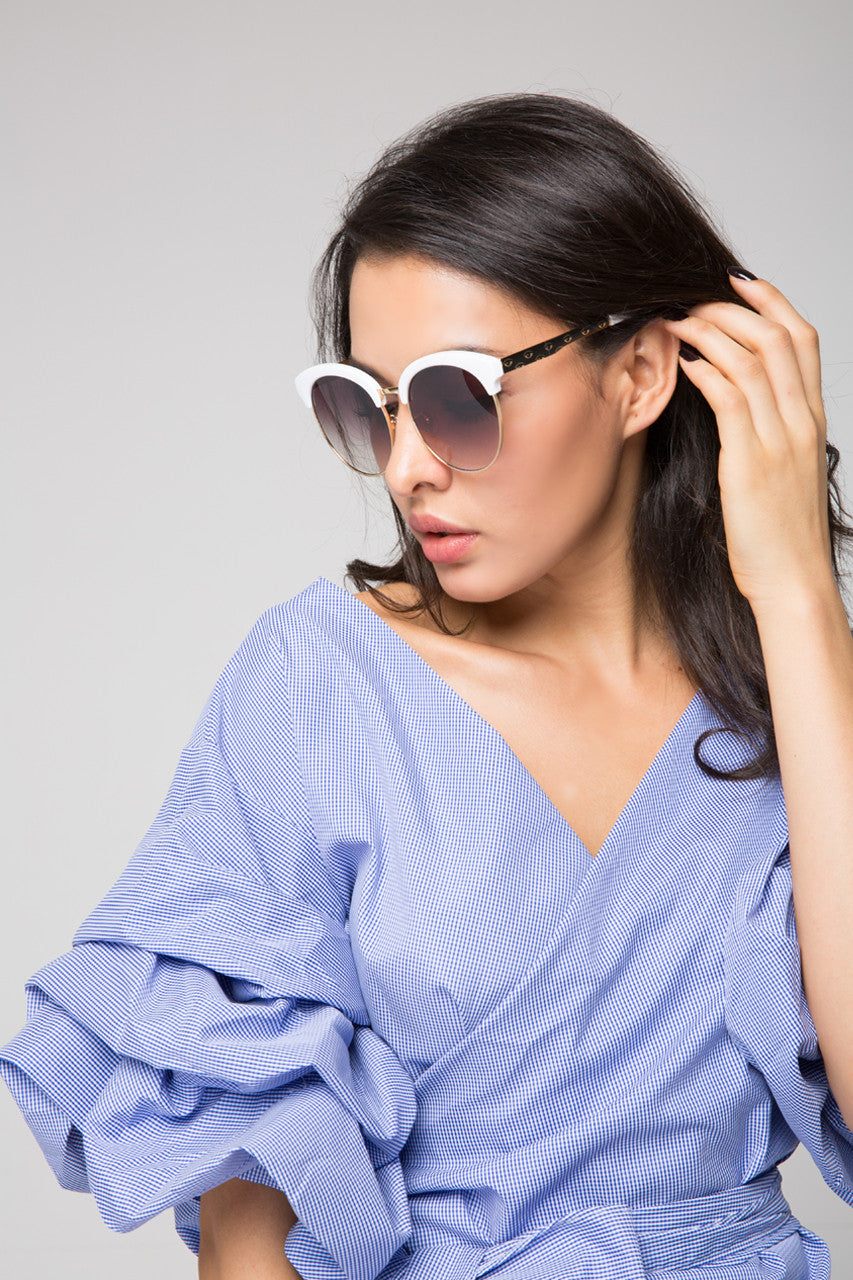 White Top Detail Sunglasses