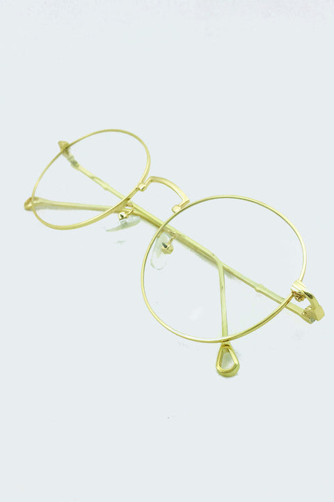 Geeky Gold Rim Round Clear Glasses 51