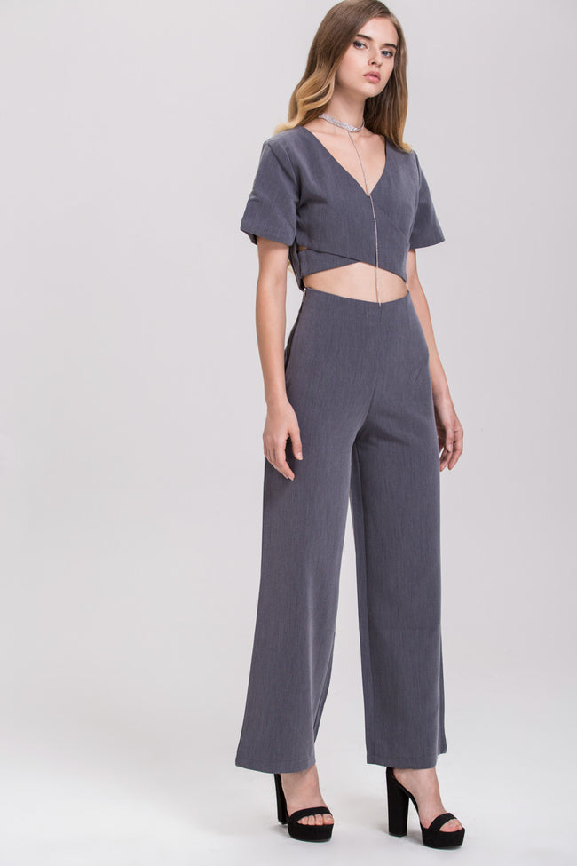 TheHala - Ash Zip Up Crop Top Palazzo 2 piece Co-ord