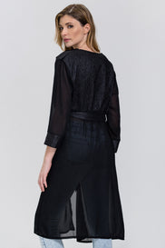 Fatma Husam - Black Crepe Chiffon Panel Robe top