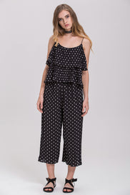 Black Polkadot Pleated Tiered Ruffle Co-ord