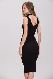 TheHala - Black Ring Tank Bodycon Midi Dress