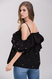 Black Ruffled Pearl Embellished Off the Shoulder Top