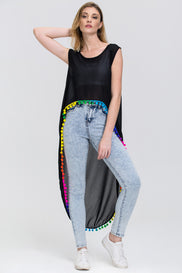 Black Sheer Long Back Rainbow Pompom Trim Top