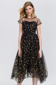 Black and Gold Star Layered Tulle Midi Dress
