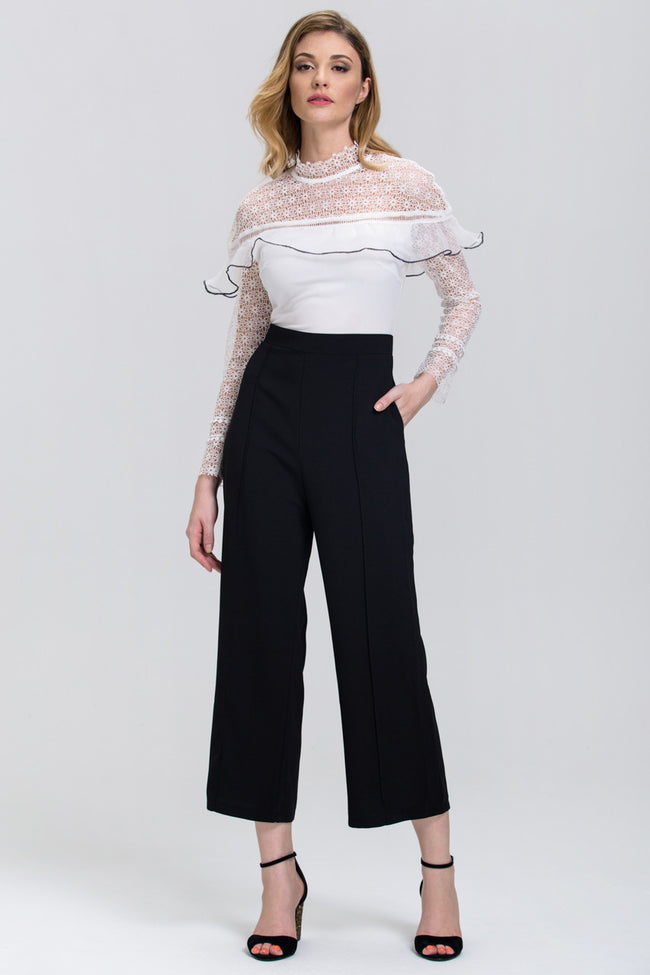 Black and White Heavy Lace Long Sleeves Palazzo Jumpsuit