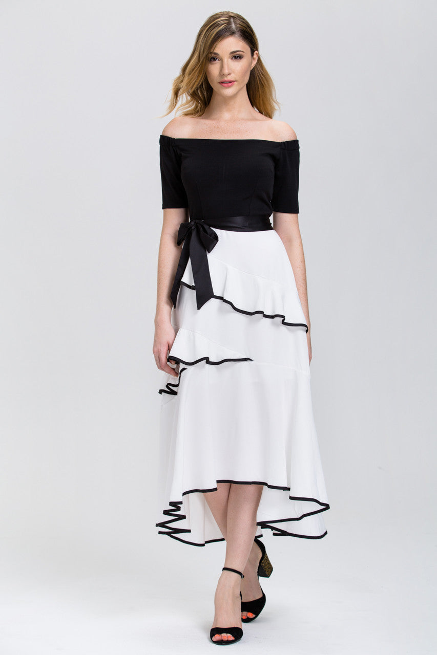 Mina Al Sheikhly - Black And White Off The Shoulder Tiered Ruffle Skir U2013 OwnTheLooks