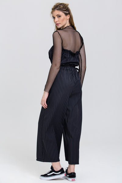 cfe59626281 Black Pin Stripe Strapless Palazzo Jumpsuit – OwnTheLooks