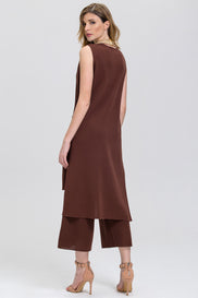 Brown Knit Palazzo Sleeveless long Vest 2 piece Co-ord